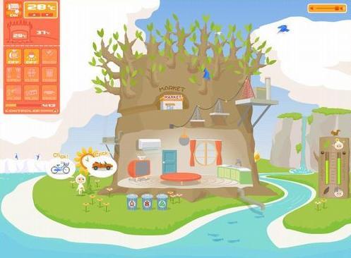 「環境ゲーム エコエゴ」 左下にいるのが「ココロン」
