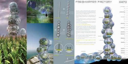 バブルのような形をしたものはタンクになっていて、中にはマングローブが植えられている。