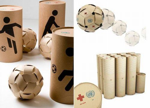 救援物資のパッケージをリサイクルしてボールにしようという「Dream Ball Project」