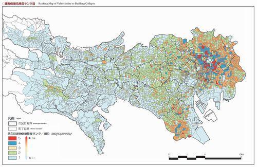 建物倒壊危険度ランク図(出典:東京都都市整備局「あなたのまちの地域危険度」<平成20年度版>P14)