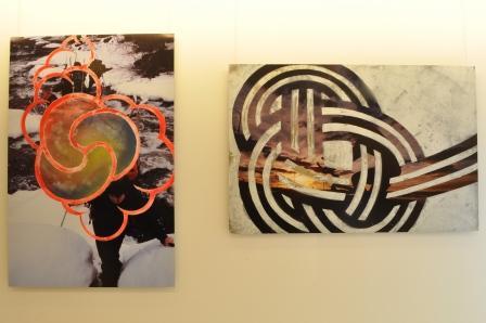 石川直樹氏の写真の上に、藤元明氏がグラフィックを載せたアートピース
