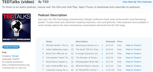 TED Podcast from iTunes