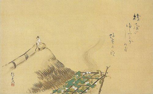 「賤が屋の夕顔図」(酒井抱一筆・江戸時代)。画像はフライヤーをスキャンし、切り取ったもの。