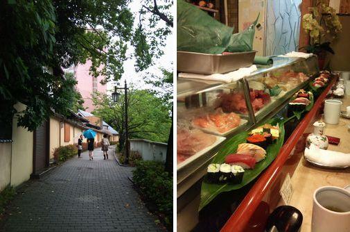 左:椿山荘前の神田川沿いの小径、右:「やなぎ」のお寿司