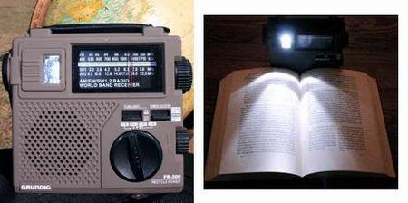 このような自家発電ラジオが配布されています。ライトのかわりにもなるんですね。