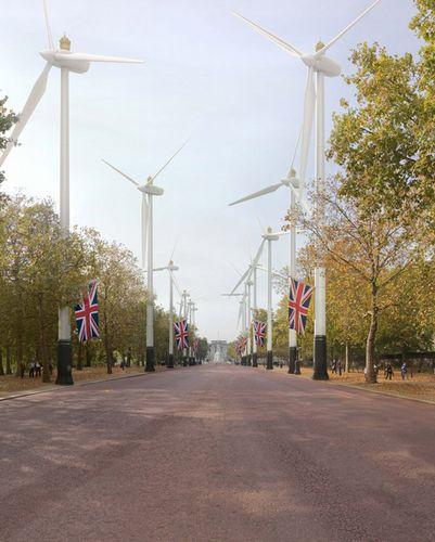 バッキンガム宮殿とトラファルガー広場を結ぶThe Mallと呼ばれる国道。車が減った結果、車道には風力発電機が設置されることに…。'The Mall – Royal Power'Image(c)Robert Graves and Didier Madoc-Jones