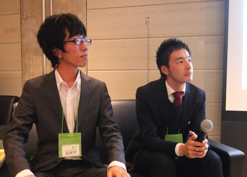 シブカサ代表理事の末原さん(左)と、ハイタッチ隊リーダーの平井さん(右)