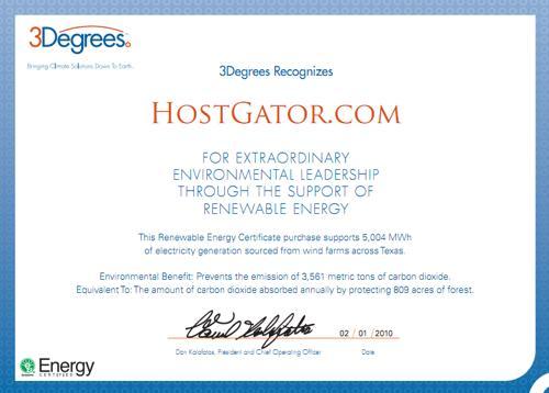 Hostgator社が2010年に購入したREC(グリーン電力証書)