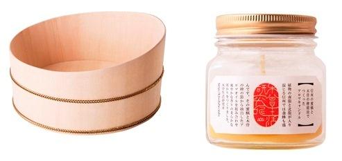 木曽の檜で作った湯桶と、蜜蝋で作った檜アロマキャンドル