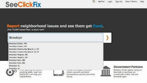 SeeClickFixのトップページ。地名を入力し右矢印をクリックすると、課題がリスト表示される。