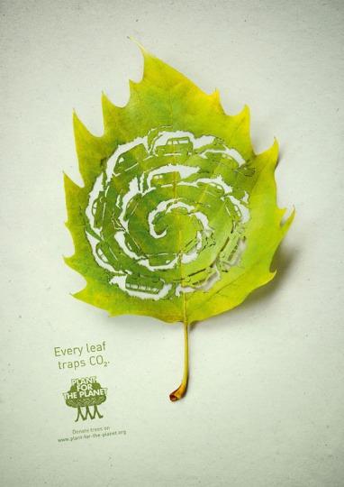 「葉っぱがCO2をせき止めます!」Plant for Planetの広告