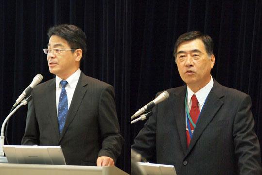 左)ITカーズの竹馬徳昭社長、右)東京都市大学の山根公高准教授