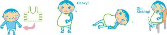 男性でも、MommyTummyを装着することで、重さだけでなく、胎動を感じ、喜びの経験もできます。