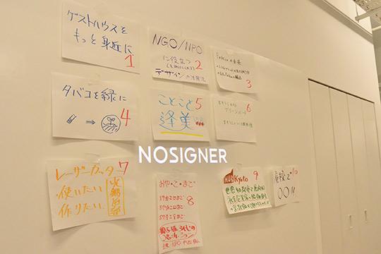貼り出された10個のトークテーマが並びます。(C)NaraYuko